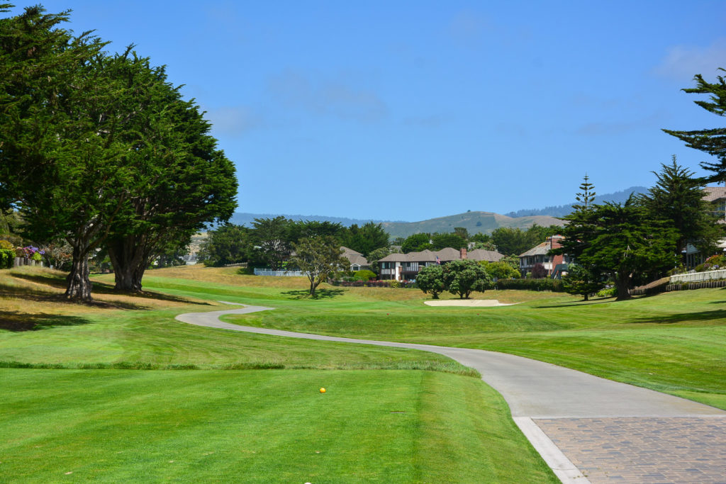 Opening tee shot on the Old Course at Half Moon Bay