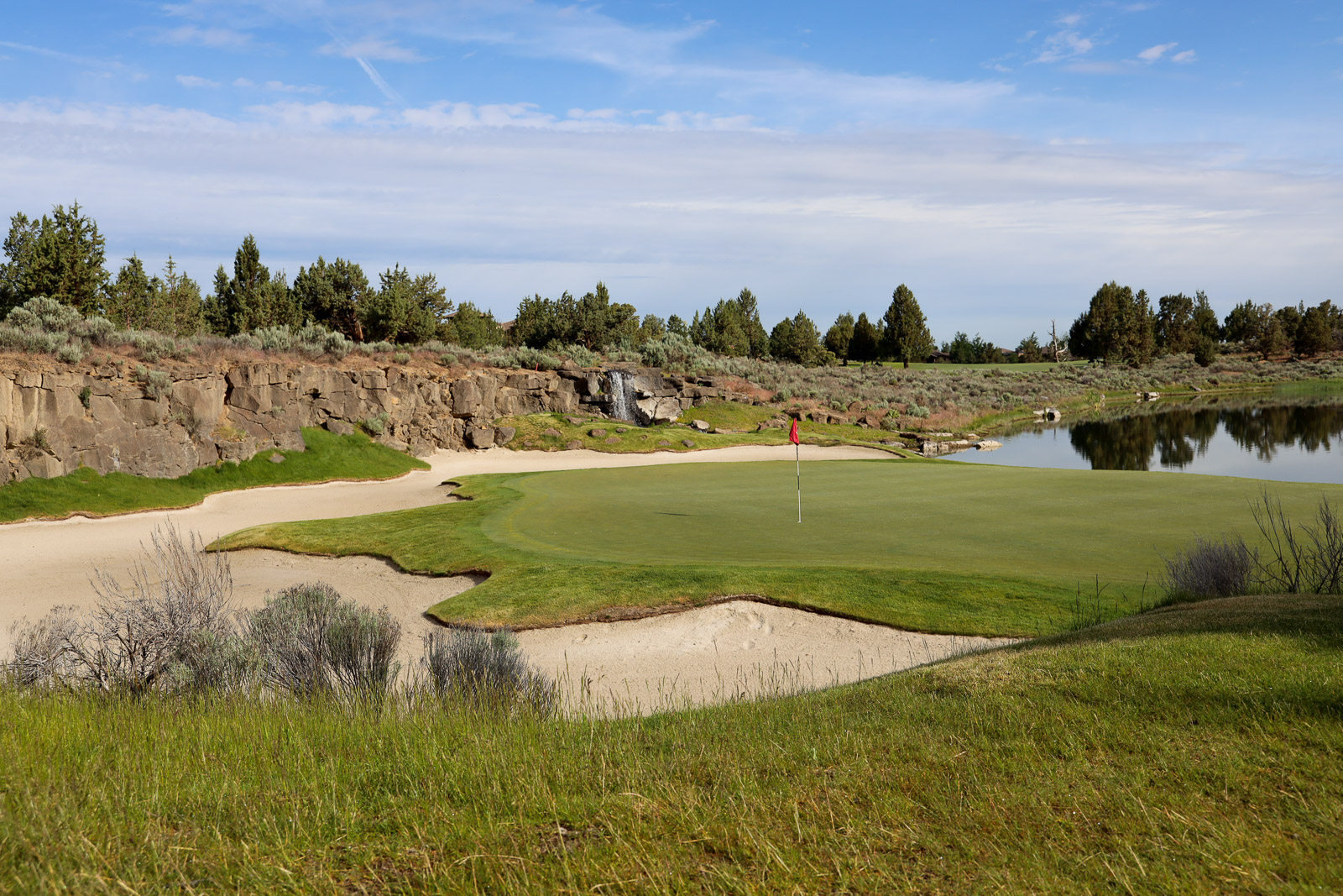 Looking back at the 13th green on the Nicklaus Course at Pronghorn